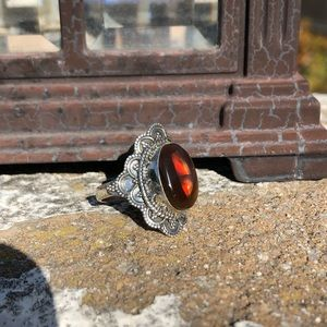 Opal Mexican Fire Sterling Silver Ring Sz 8